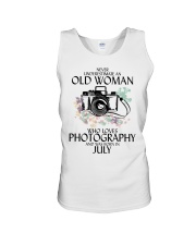 Never Underestimate Old Woman Photography July Unisex Tank thumbnail