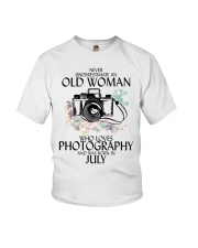 Never Underestimate Old Woman Photography July Youth T-Shirt thumbnail