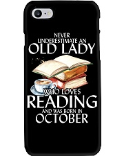 Never Underestimate Old Lady Reading October BLack Phone Case thumbnail
