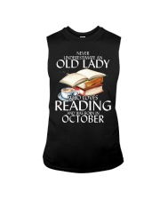 Never Underestimate Old Lady Reading October BLack Sleeveless Tee tile