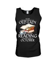 Never Underestimate Old Lady Reading October BLack Unisex Tank tile