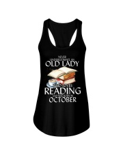 Never Underestimate Old Lady Reading October BLack Ladies Flowy Tank thumbnail