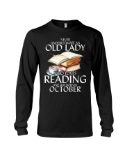 Never Underestimate Old Lady Reading October BLack Long Sleeve Tee thumbnail