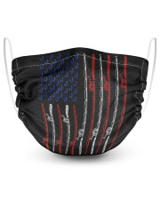 funny american flag fishing rod hunting tee 2 Layer Face Mask - Single front
