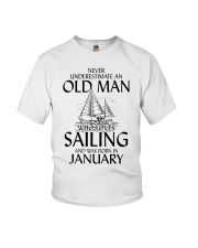 Never Underestimate Old Man Sailing January Youth T-Shirt thumbnail