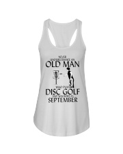 Never Underestimate Old  Man Disc Golf September Ladies Flowy Tank thumbnail