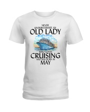 Never Underestimate Old Lady Cruising May Ladies T-Shirt thumbnail