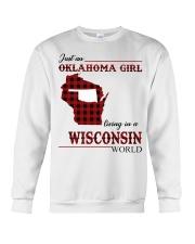 Oklahoma Girl Living In Wisconsin Crewneck Sweatshirt thumbnail