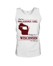 Oklahoma Girl Living In Wisconsin Unisex Tank thumbnail