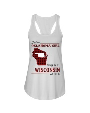 Oklahoma Girl Living In Wisconsin Ladies Flowy Tank thumbnail
