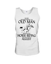 Never Underestimate Old Man Horse Riding August Unisex Tank thumbnail