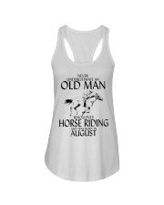 Never Underestimate Old Man Horse Riding August Ladies Flowy Tank thumbnail