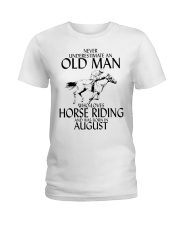 Never Underestimate Old Man Horse Riding August Ladies T-Shirt thumbnail