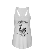 Never Underestimate Old Man Deer Hunting March Ladies Flowy Tank tile