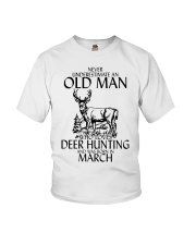Never Underestimate Old Man Deer Hunting March Youth T-Shirt thumbnail