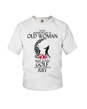 Never Underestimate Old Woman Golf July Youth T-Shirt thumbnail