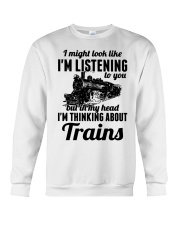 In my head I'm thinking about trains Crewneck Sweatshirt thumbnail