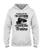 In my head I'm thinking about trains Hooded Sweatshirt thumbnail