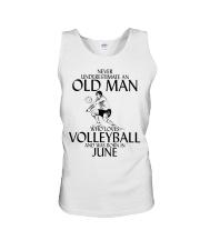 Never Underestimate Old Man Volleyball June Unisex Tank thumbnail