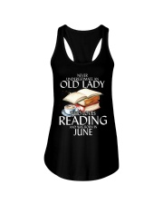 Never Underestimate Old Lady Reading June Black Ladies Flowy Tank thumbnail