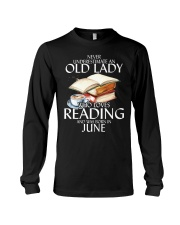 Never Underestimate Old Lady Reading June Black Long Sleeve Tee thumbnail