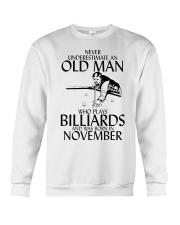 Never Underestimate Old  Man Billiards November Crewneck Sweatshirt thumbnail