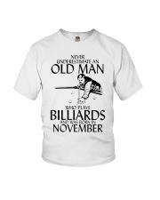 Never Underestimate Old  Man Billiards November Youth T-Shirt thumbnail