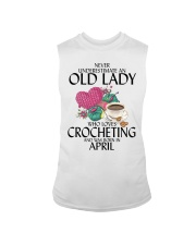 Never Underestimate Old Lady Crocheting April Sleeveless Tee thumbnail