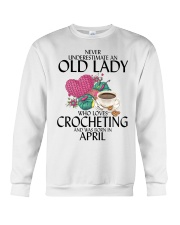 Never Underestimate Old Lady Crocheting April Crewneck Sweatshirt thumbnail