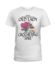 Never Underestimate Old Lady Crocheting April Ladies T-Shirt thumbnail