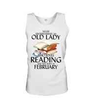 Never Underestimate Old Lady Reading February Unisex Tank thumbnail