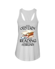 Never Underestimate Old Lady Reading February Ladies Flowy Tank thumbnail