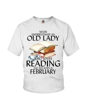 Never Underestimate Old Lady Reading February Youth T-Shirt thumbnail