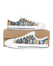 AUGUST 17 LICENSE PLATES Women's Low Top White Shoes inside-left-outside-left
