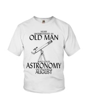 Never Underestimate Old Man Astronomy August Youth T-Shirt thumbnail