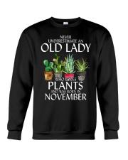 Never Underestimate Old Lady Love Plants November Crewneck Sweatshirt thumbnail