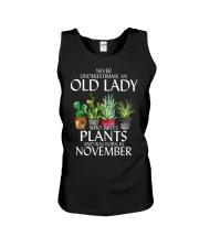 Never Underestimate Old Lady Love Plants November Unisex Tank thumbnail