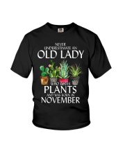 Never Underestimate Old Lady Love Plants November Youth T-Shirt thumbnail