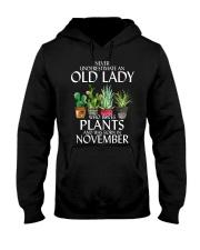 Never Underestimate Old Lady Love Plants November Hooded Sweatshirt thumbnail