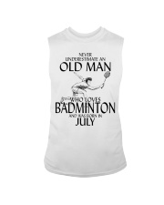 Never Underestimate Old Man Badminton July Sleeveless Tee thumbnail