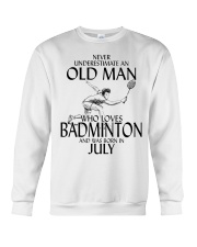 Never Underestimate Old Man Badminton July Crewneck Sweatshirt thumbnail