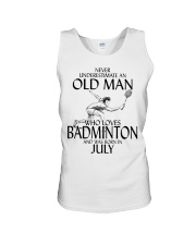 Never Underestimate Old Man Badminton July Unisex Tank thumbnail