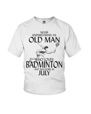 Never Underestimate Old Man Badminton July Youth T-Shirt thumbnail
