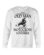 Never Underestimate Old Man Motocross November Crewneck Sweatshirt thumbnail