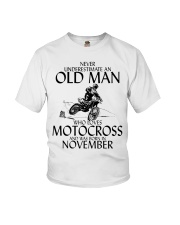 Never Underestimate Old Man Motocross November Youth T-Shirt thumbnail