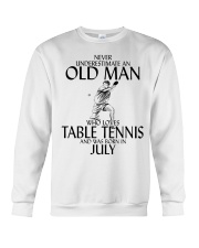 Never Underestimate Old Man Table Tennis July Crewneck Sweatshirt tile
