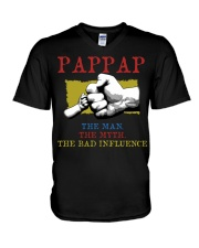 PAPPAP The Man The Myth The Bad Influence V-Neck T-Shirt tile