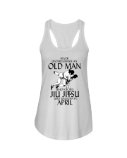 Never Underestimate Old Man Jiu Jitsu April Ladies Flowy Tank tile
