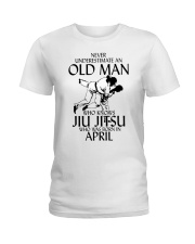 Never Underestimate Old Man Jiu Jitsu April Ladies T-Shirt tile