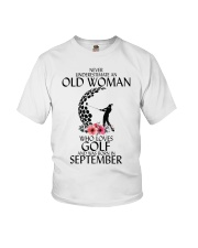 Never Underestimate Old Woman Golf September Youth T-Shirt thumbnail